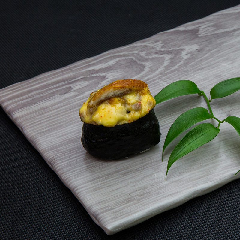 Backed eel sushi with cheese