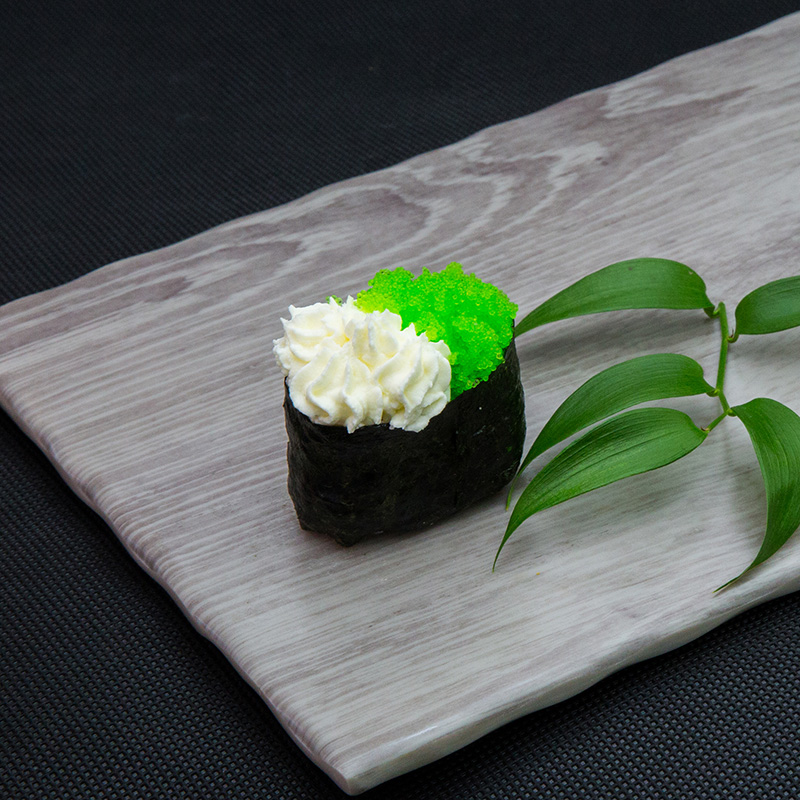 Wasabi fying fish roe with cream cheese
