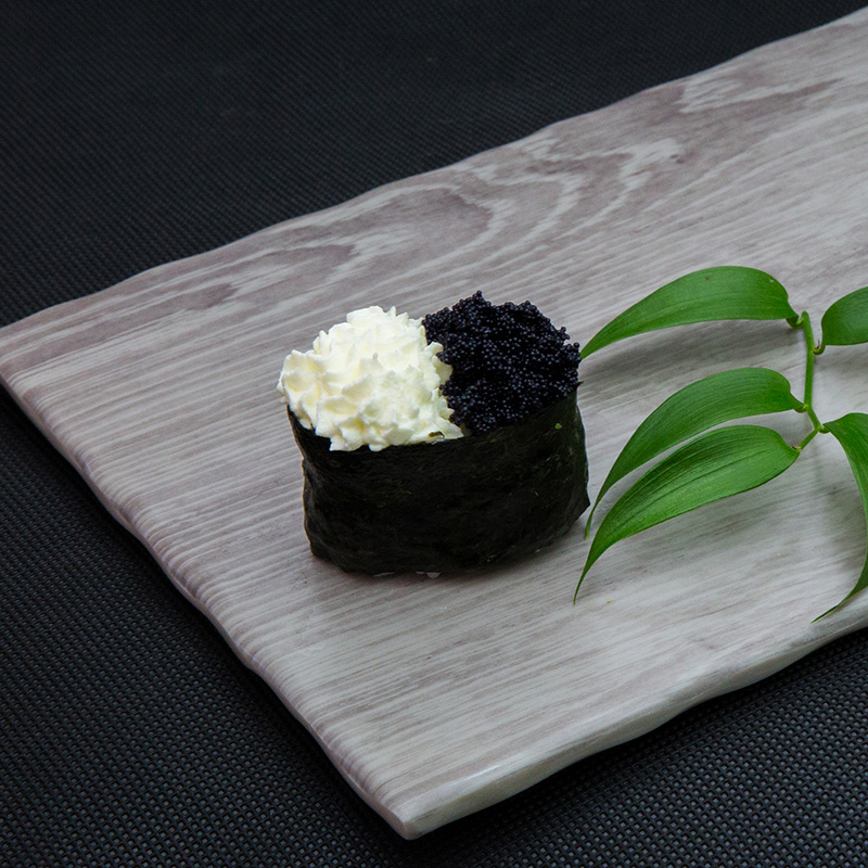 Black flying fish roe with cream cheese