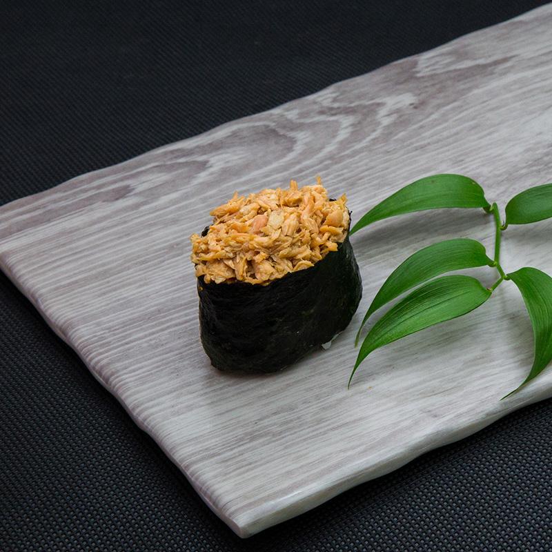 Fried salmon sushi