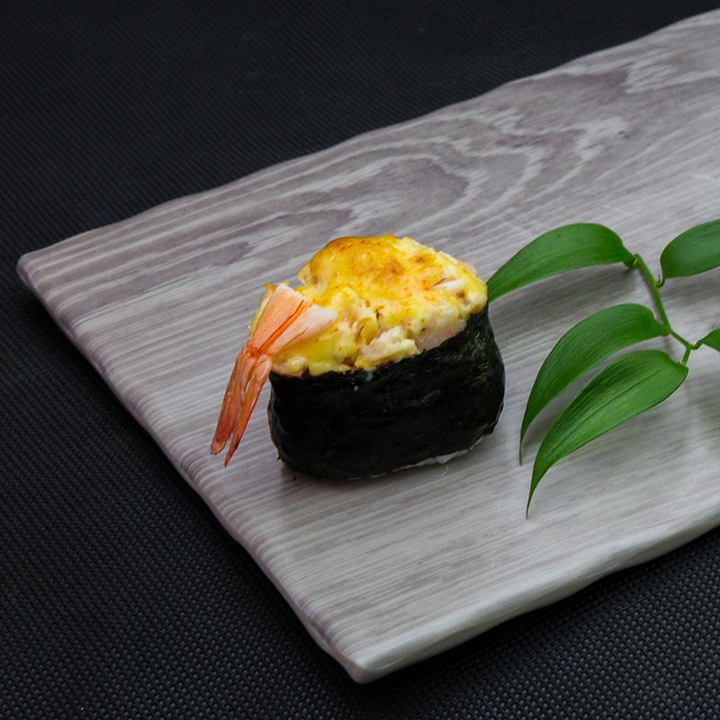 Backed king shrimp sushi