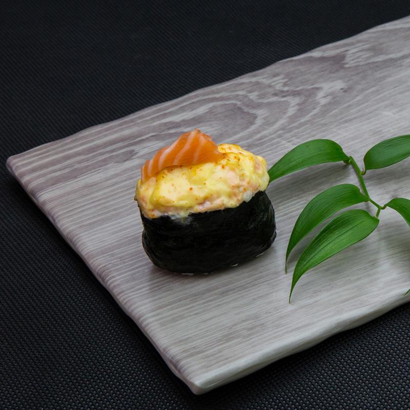 Backed salmon sushi