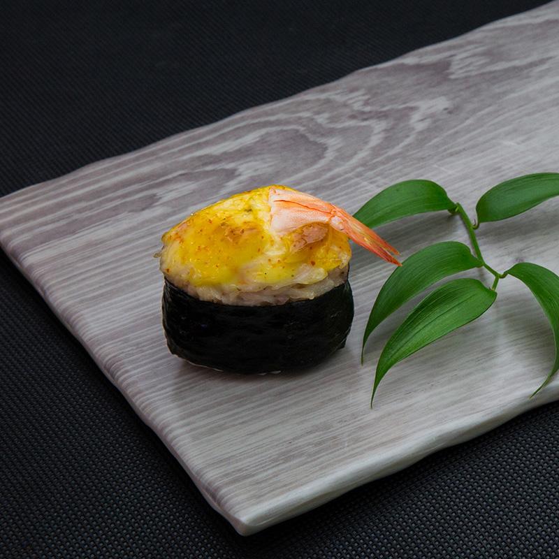 Backed king shrimp sushi with cheese